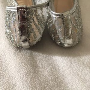 4d9384d1a3 Dollhouse Shoes - Dollhouse Silver Glitter See-Through Ballet Flats